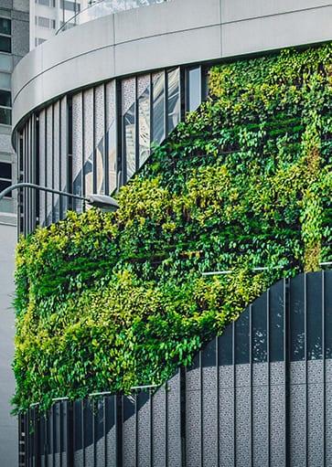 Groen geleiding gebouw